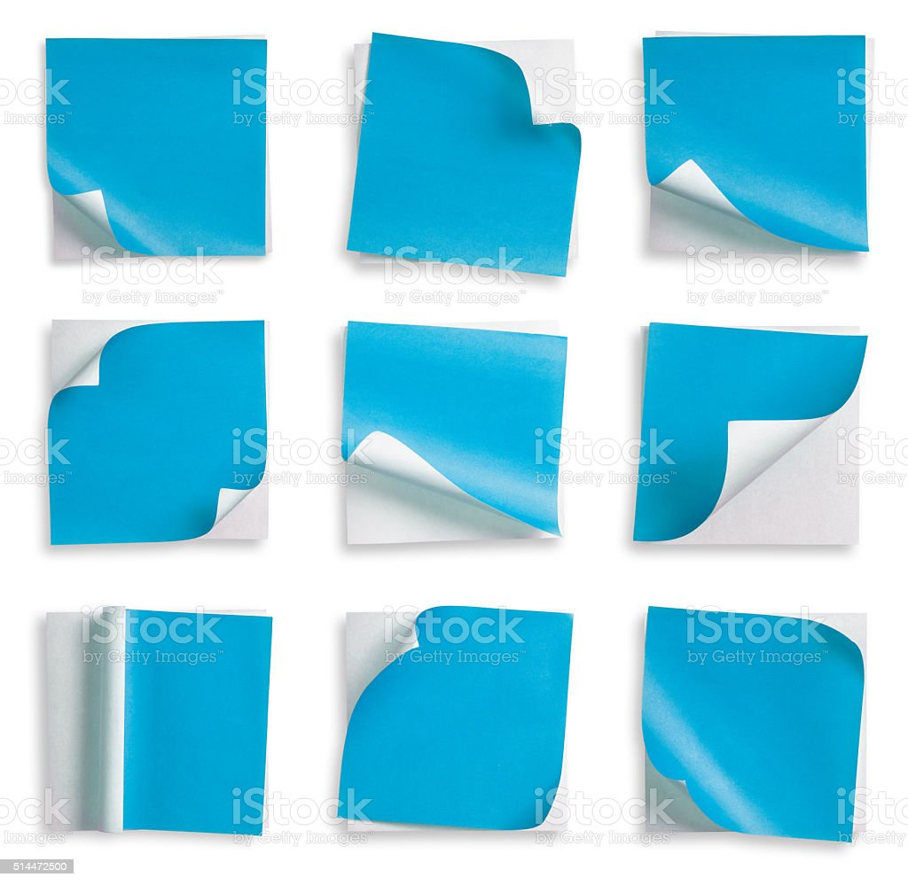 Collection of Blue paper and curled corner. stock photo