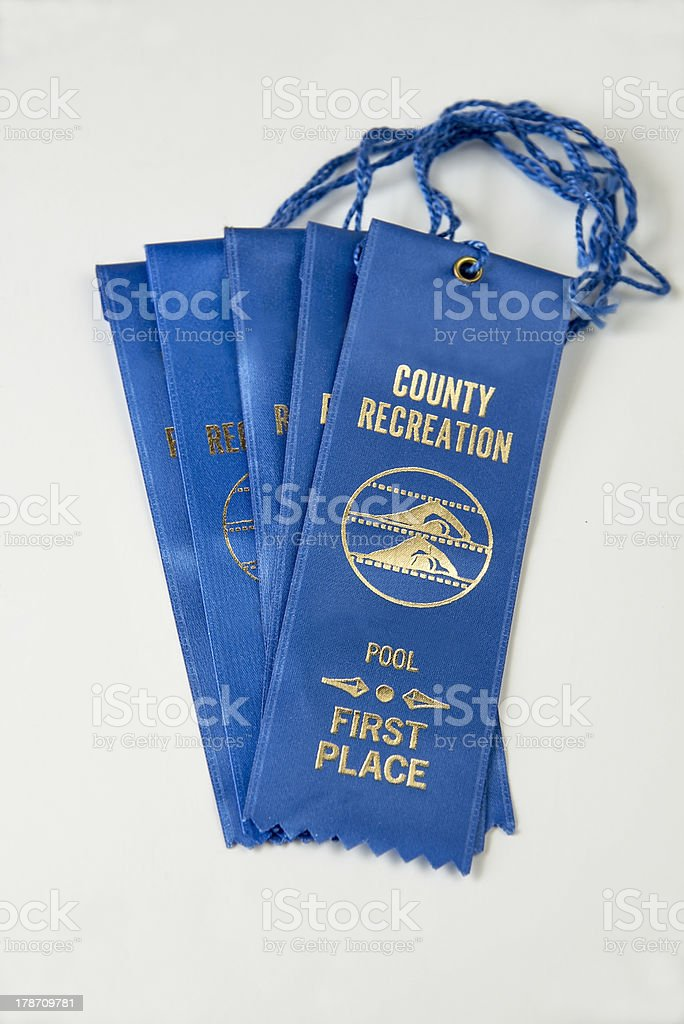Collection of blue ribbons royalty-free stock photo