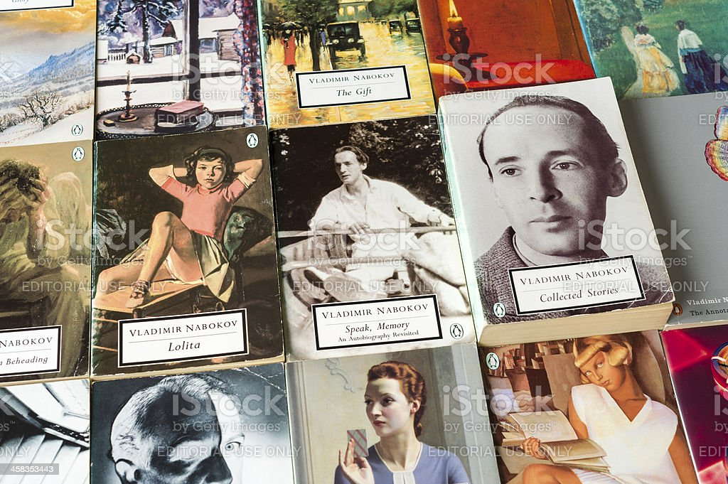 Collection of books by Vladimir Nabokov in Penguin Classics editions stock photo