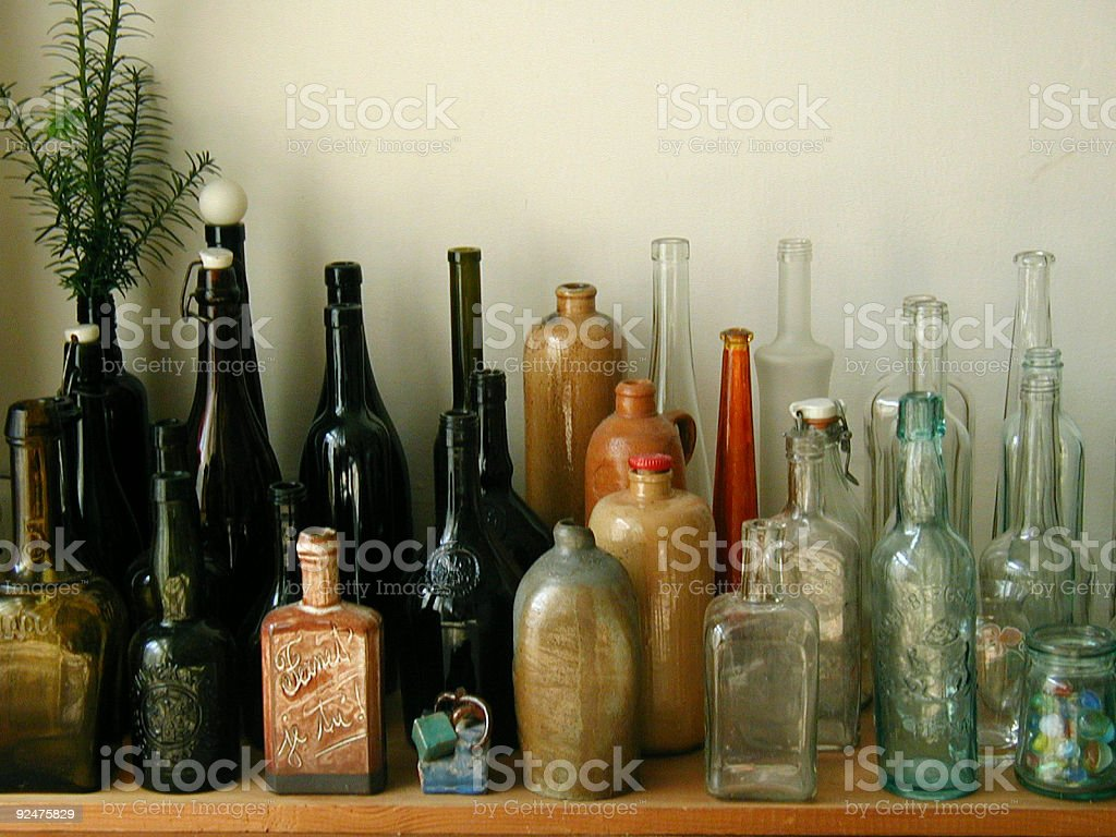 Collection of bottels stock photo