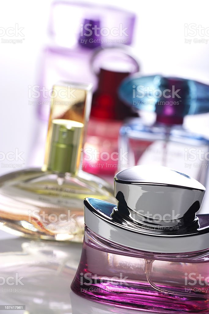 A collection of bottled perfumes stock photo