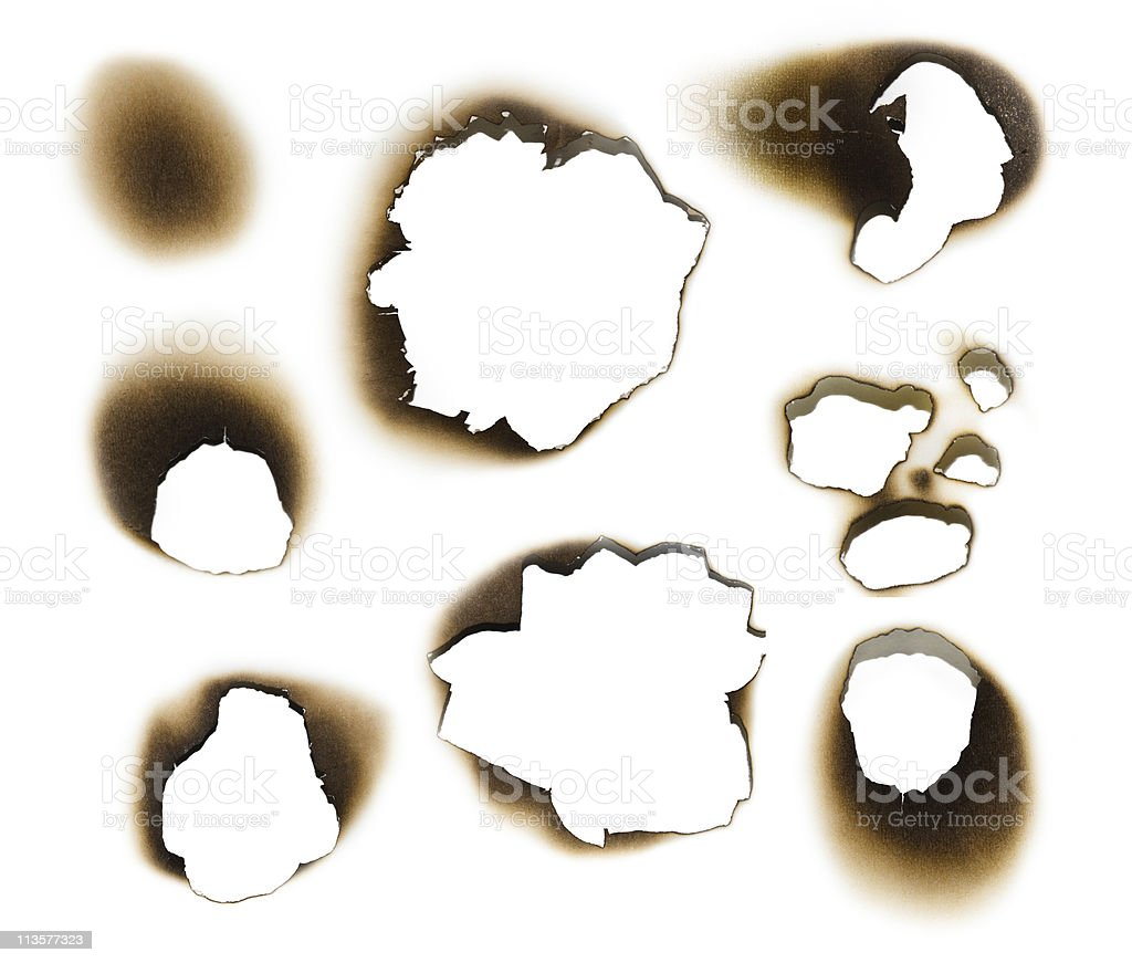 Collection of burnt holes stock photo