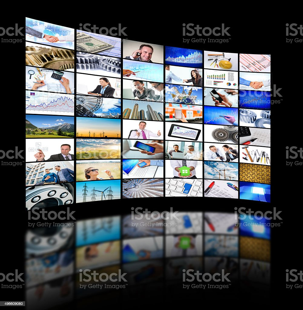 Collection of business, industrial and finance images in media concept stock photo