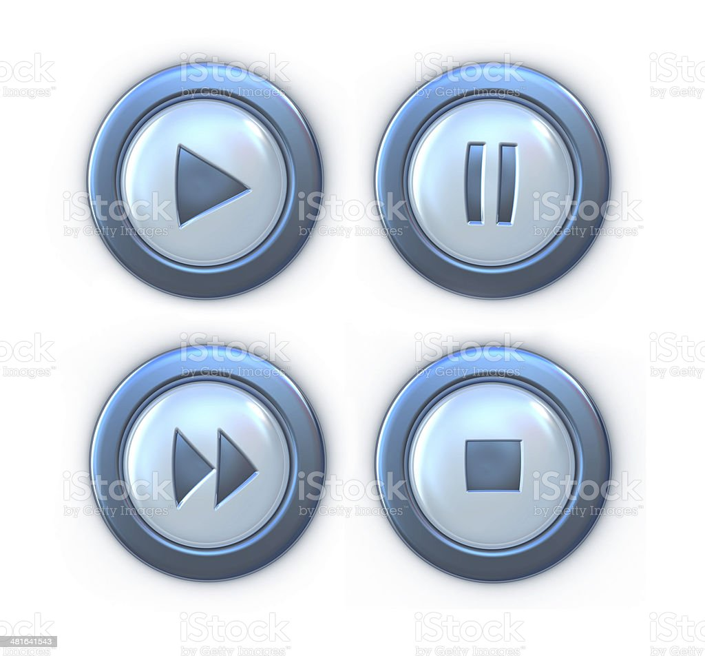 Collection of buttons player stock photo