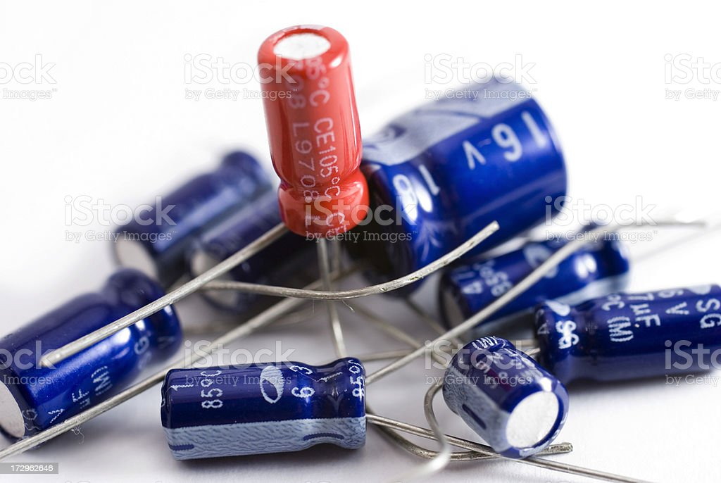 Collection of capacitors against a white background stock photo