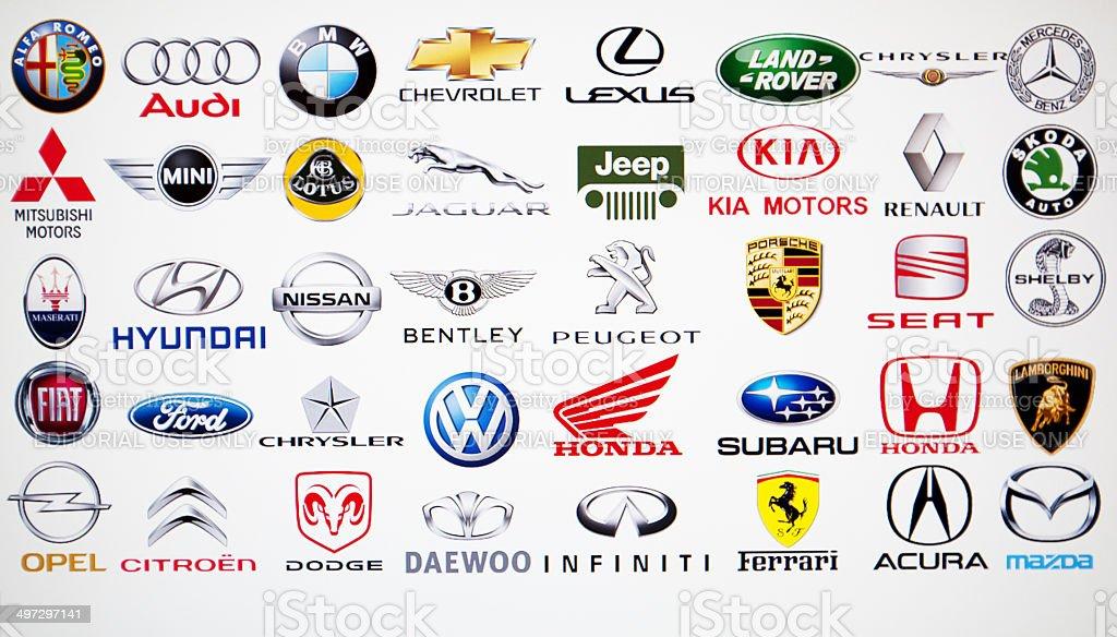 Collection of car brand logos stock photo