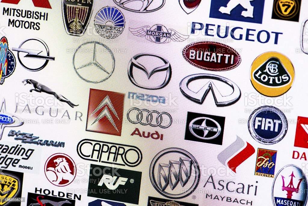 Collection of car manufacturer logos on computer screen royalty-free stock photo