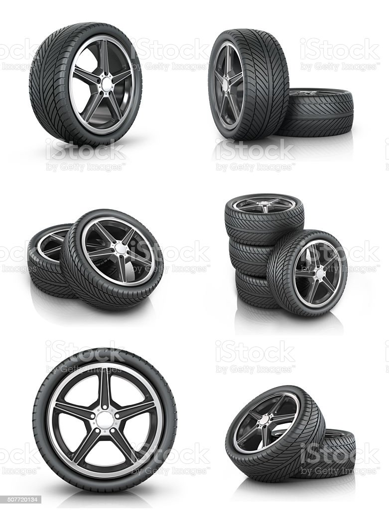 Collection of car wheels stock photo