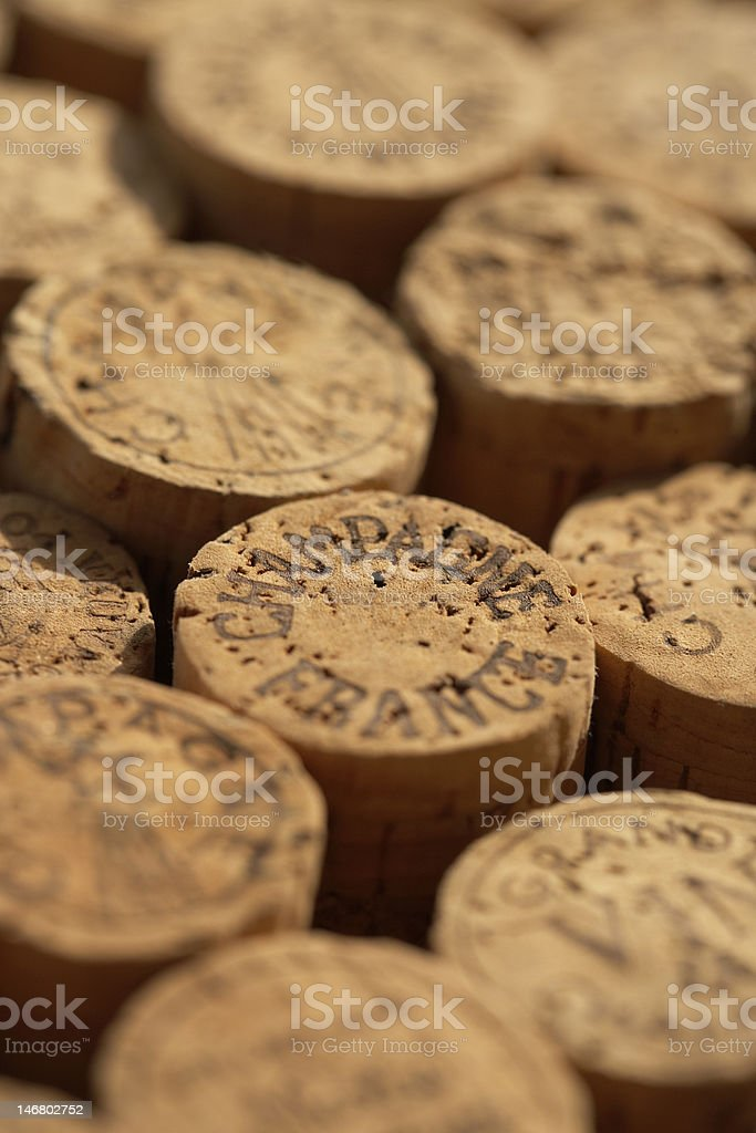 collection of champagne corks stock photo