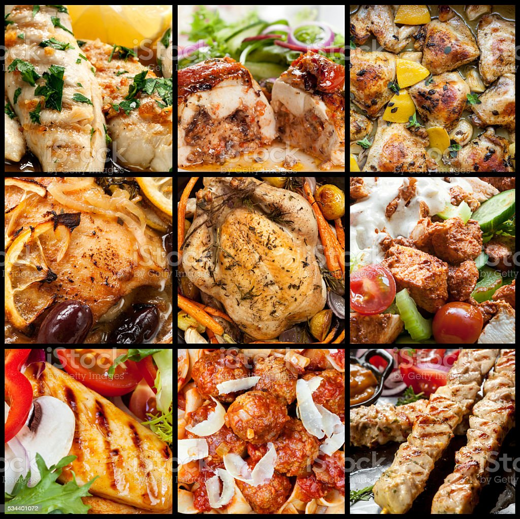 Collection of chicken meals. stock photo