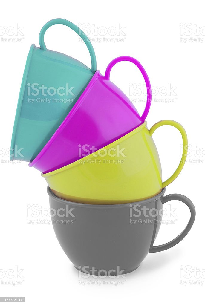Collection of children's toys cups (Clipping path) royalty-free stock photo