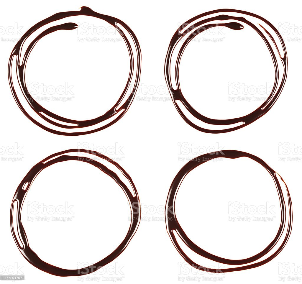 Collection of chocolate syrup drip, frame. stock photo