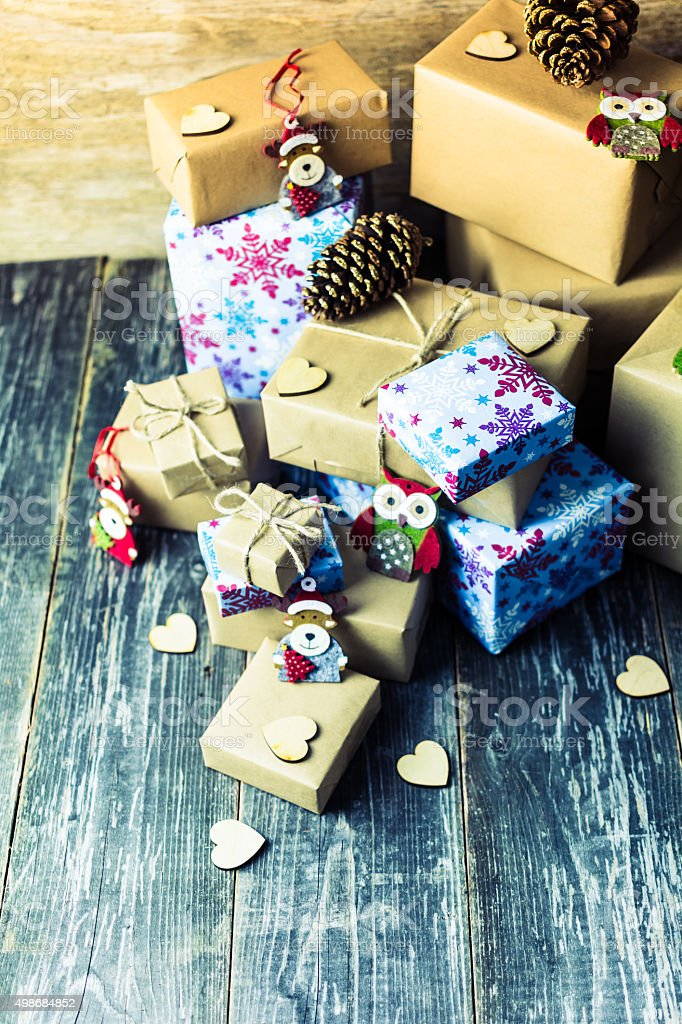 Collection of Christmas Gifts on Wooden Table, Christmas Background