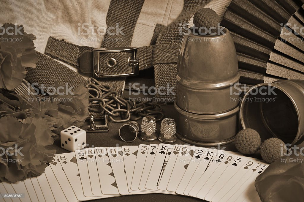 Collection of classic Magic tricks with a sepia edition applied stock photo