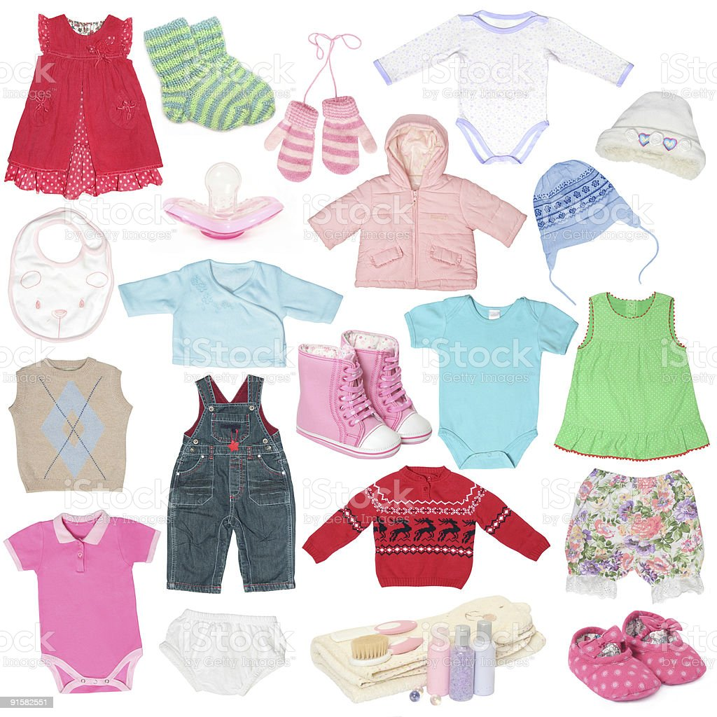 collection of clothing and other accessories for the child royalty-free stock photo
