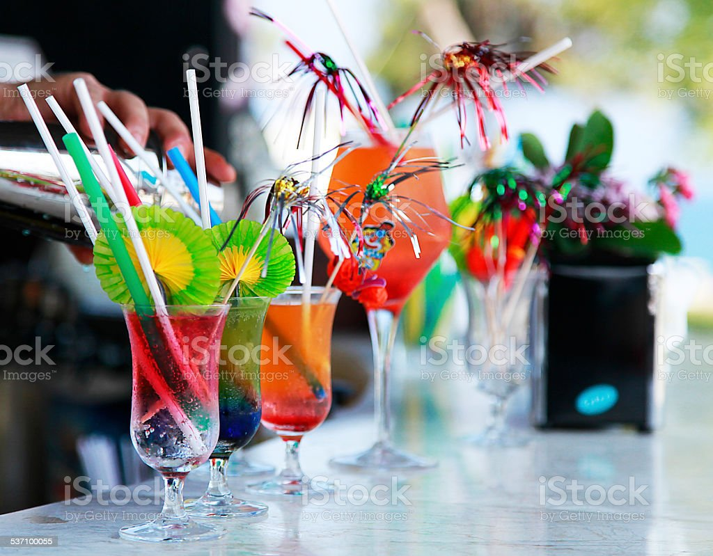 collection of coctails and other drinks stock photo