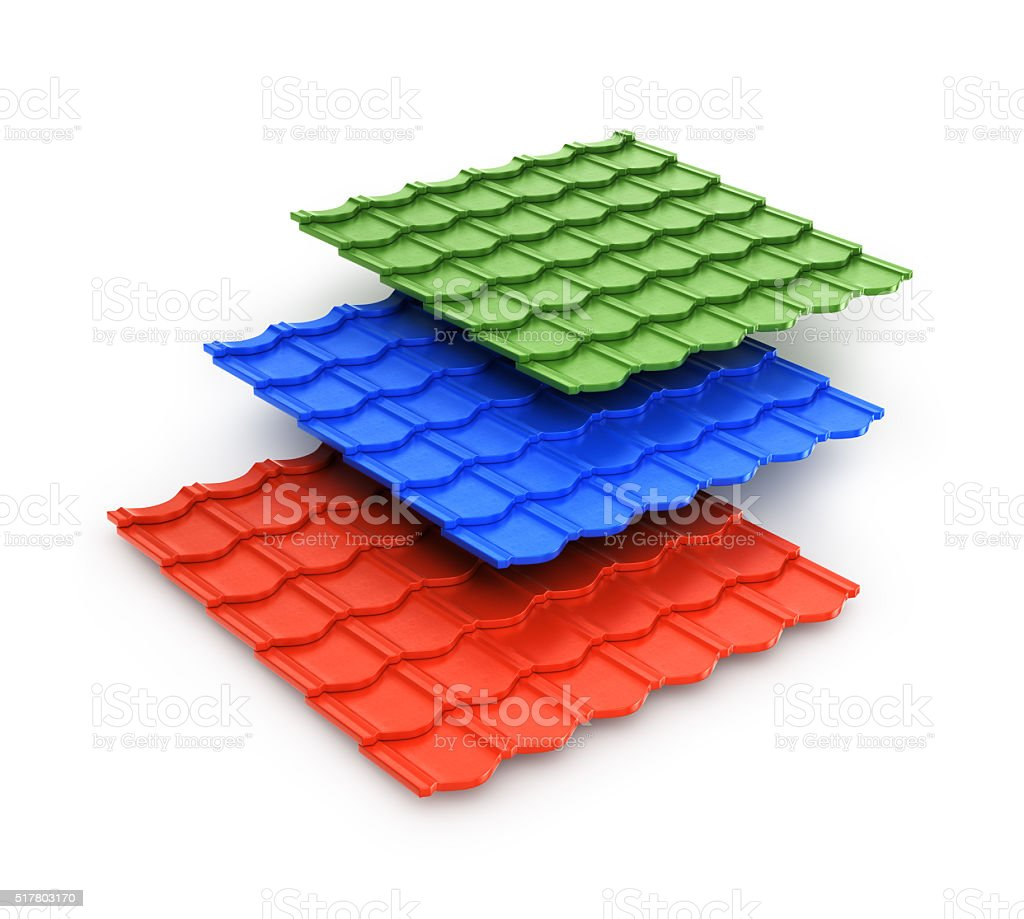 Collection of colored tiles stock photo