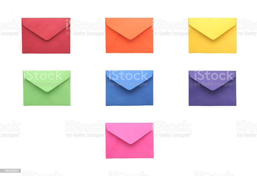 Collection of Colorful Envelopes stock photo
