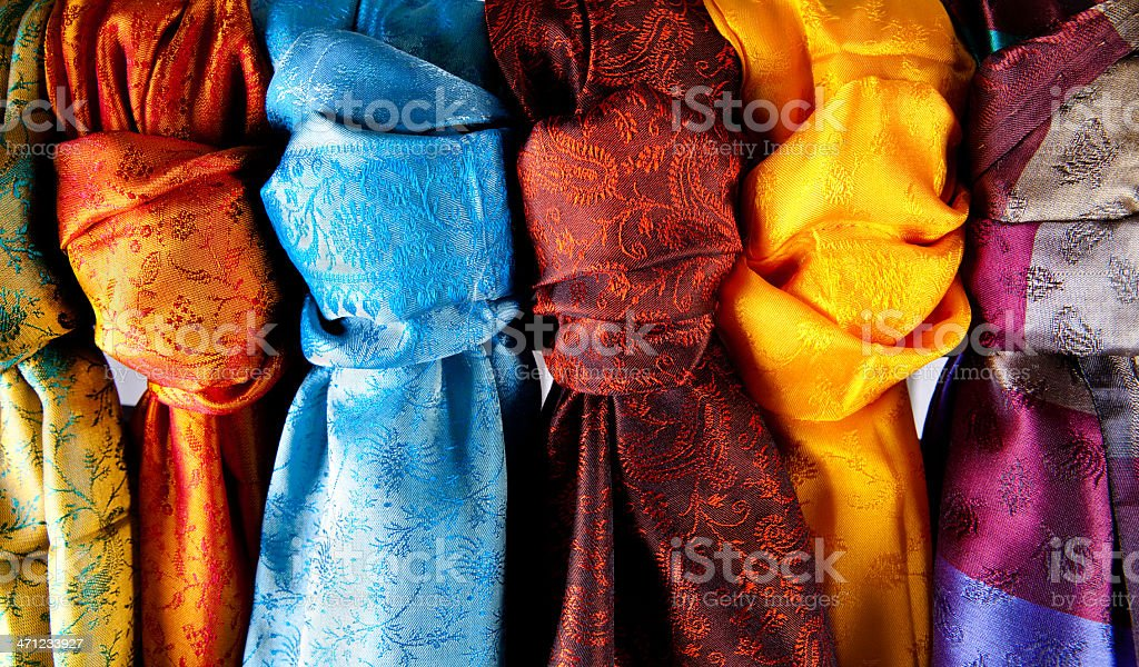 A collection of colorful Indian saris stock photo