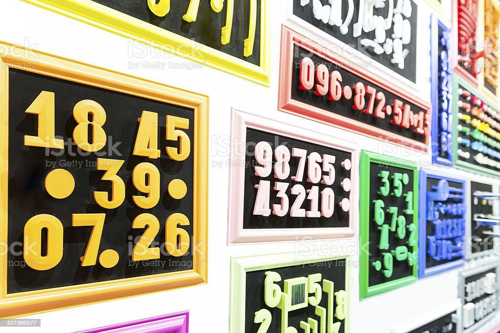 Collection of colorful numbers stock photo