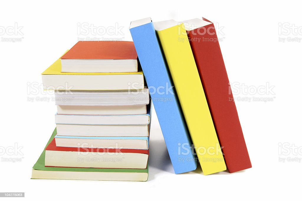 Collection of colorful paperback books royalty-free stock photo