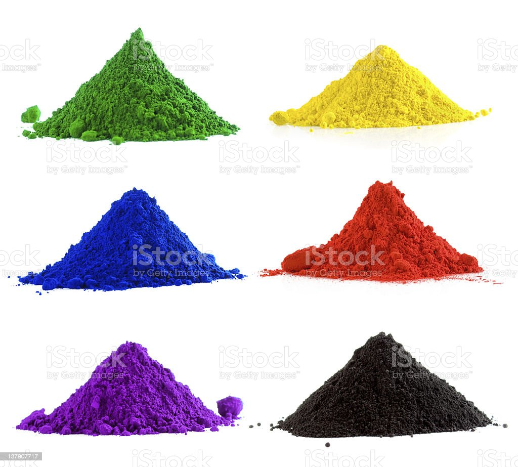 Collection of colorful powder royalty-free stock photo
