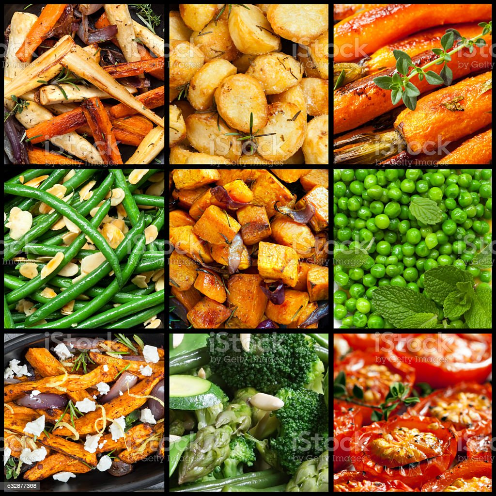 Collection of Cooked Vegetable Dishes stock photo