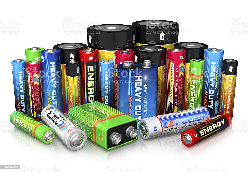 Collection of different batteries stock photo