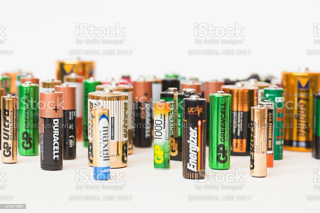 Collection of different battery brands stock photo