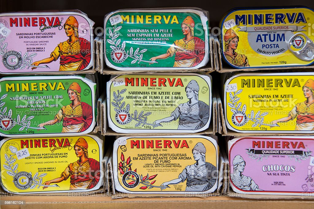 Collection of different brands of canned sardines stock photo