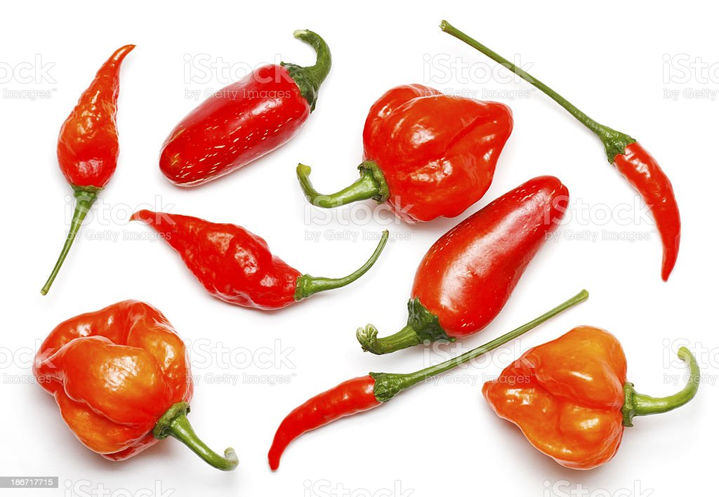 Collection of different fresh chilies stock photo