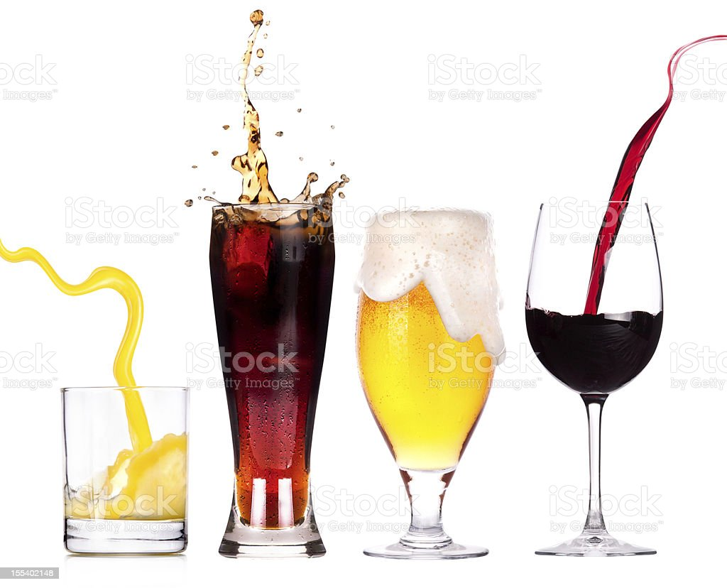 Collection of different images with alcohol isolated stock photo