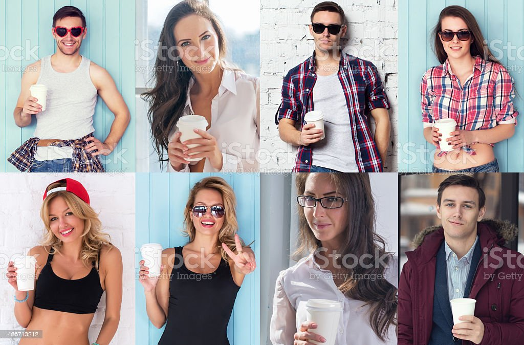 Collection of different many happy smiling young people faces caucasian stock photo