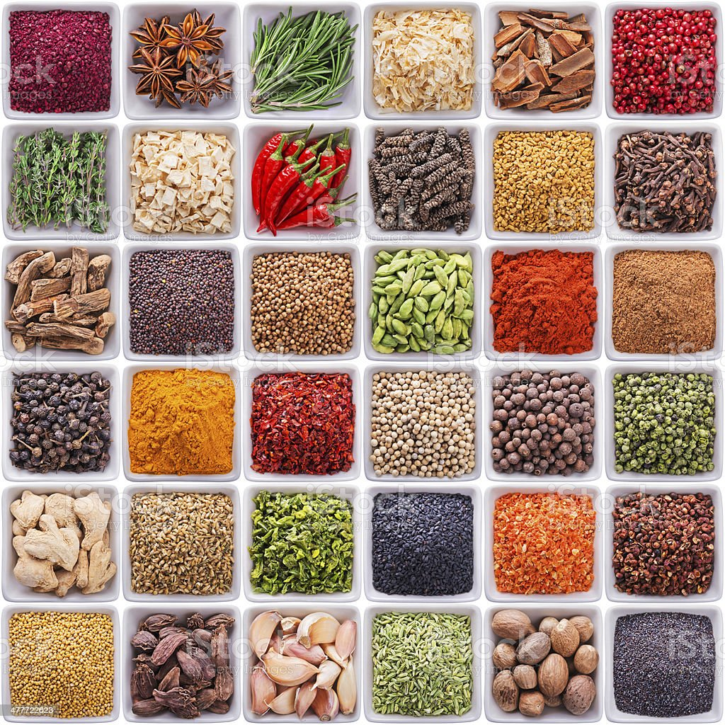 collection of different spices and herbs royalty-free stock photo