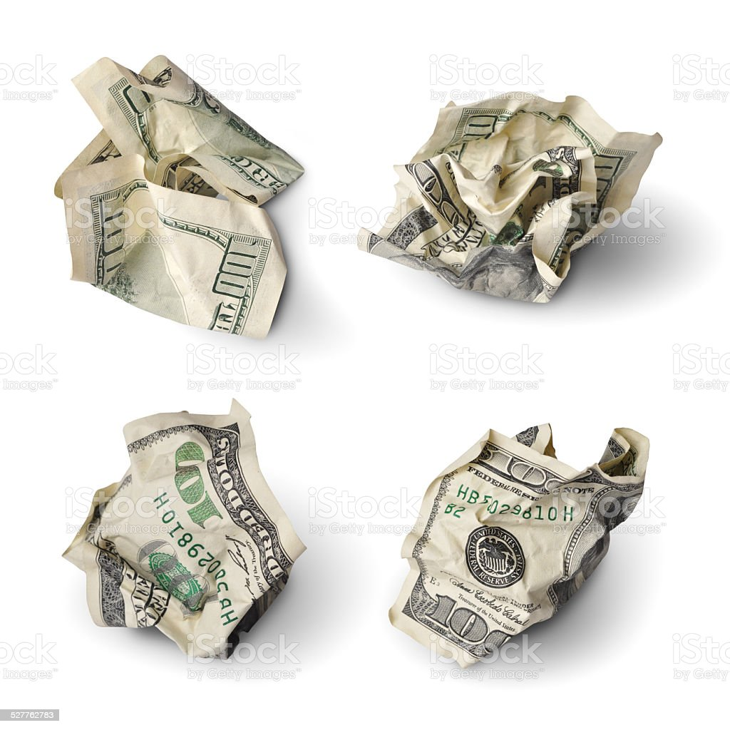 Collection of dollar bills stock photo