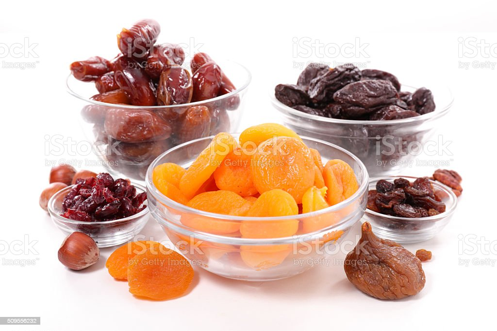 collection of dried fruit stock photo