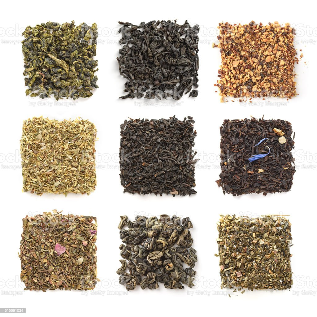 Collection of dry tea isolated on a white background stock photo