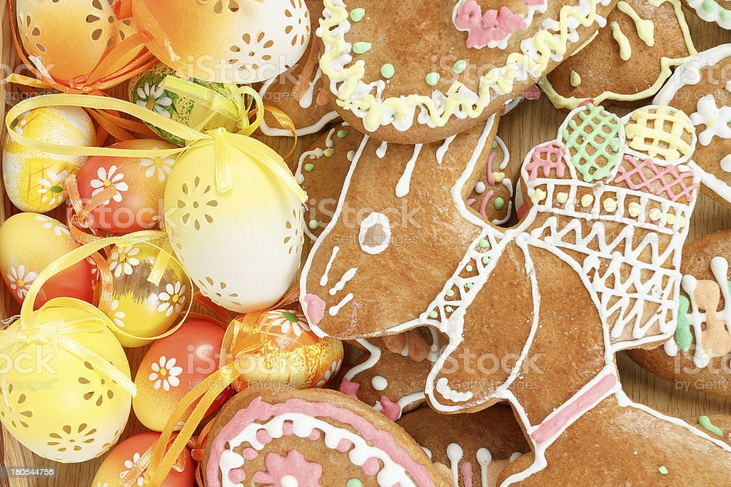 collection of easter ginger breads and eggs royalty-free stock photo