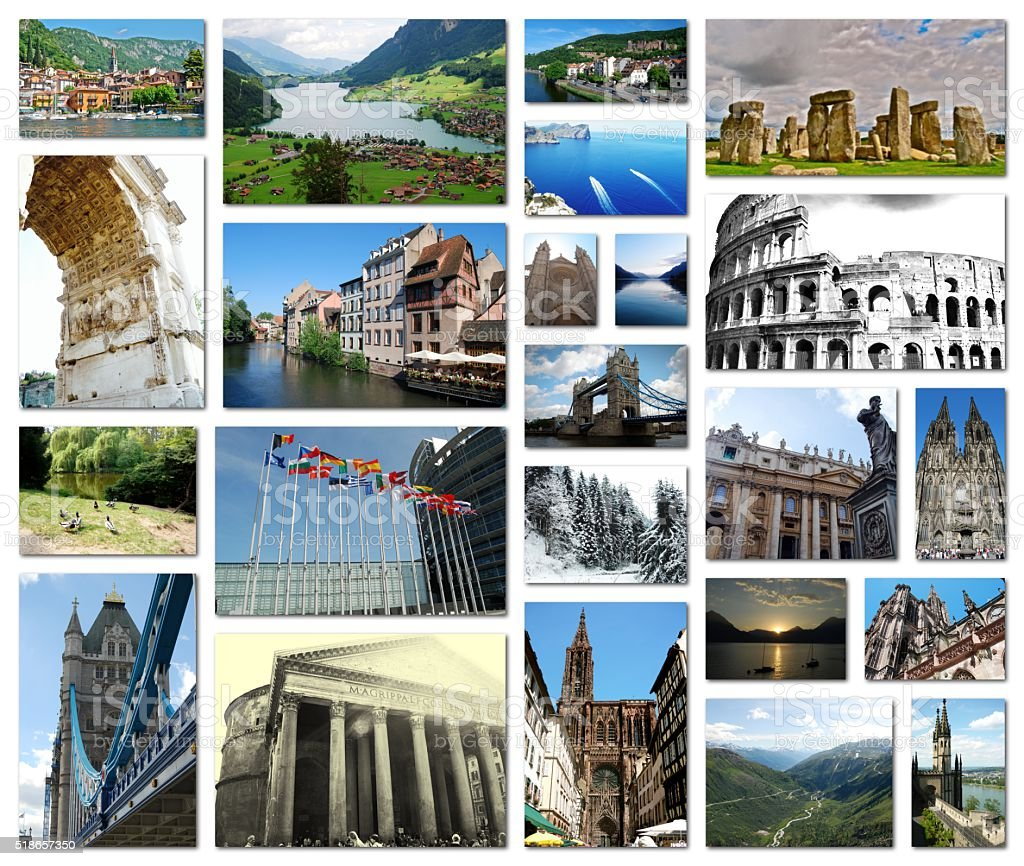 Collection of European travel photos in a grid collage. stock photo