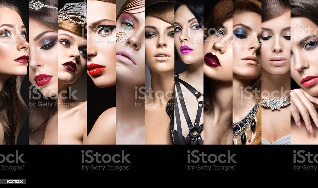Collection of evening makeup. Beautiful girls. Beauty face stock photo
