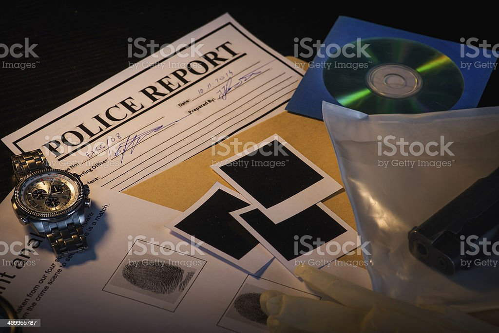 Collection of evidence stock photo