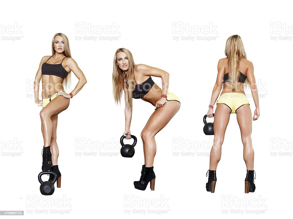 Collection of exercises with kettlebell royalty-free stock photo