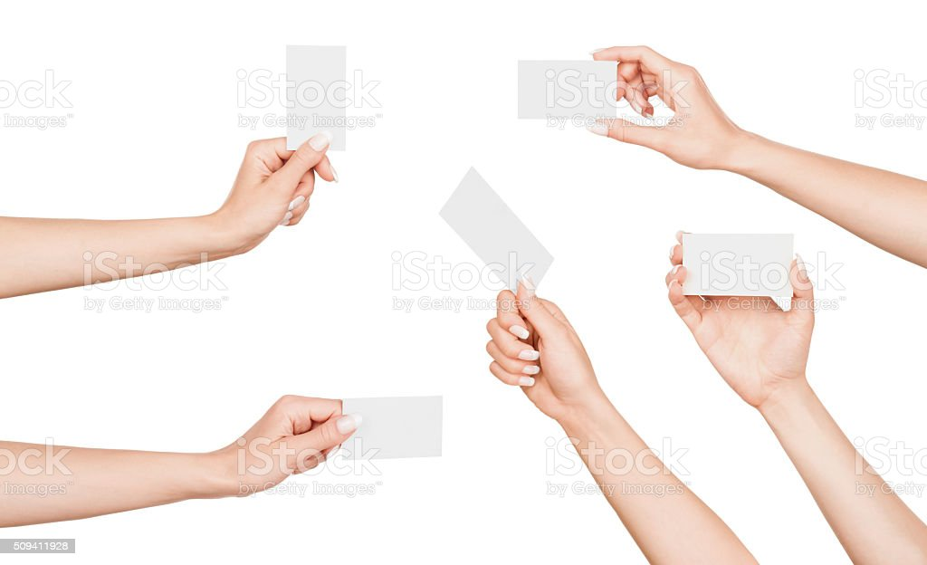 collection of female hand with business card stock photo