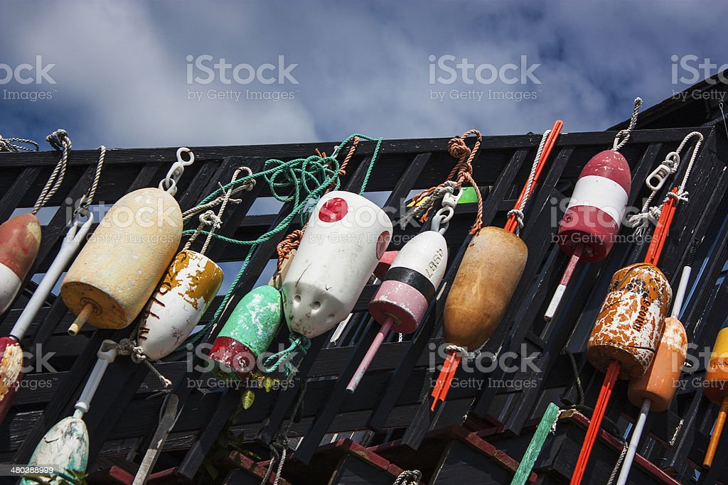Collection of fishing weights decorating staircase stock photo