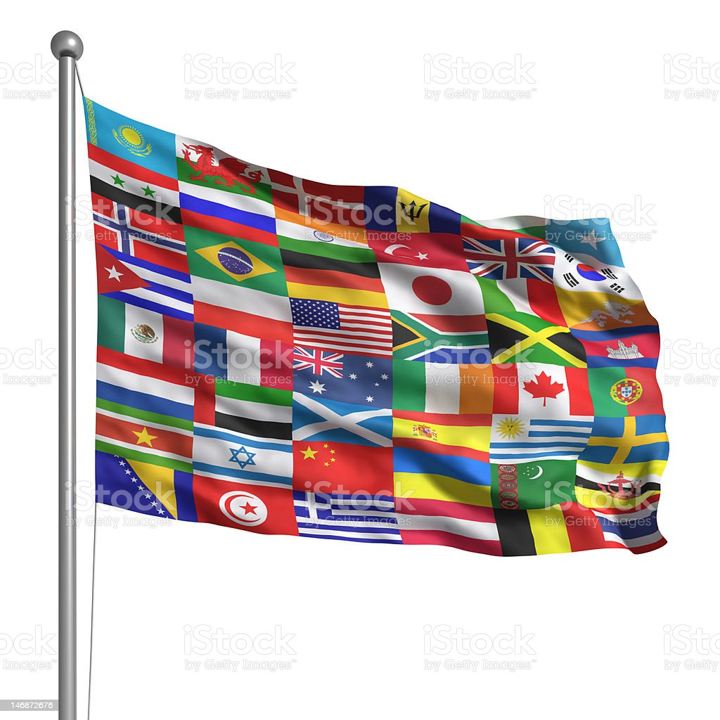 Collection of flags (Isolated) stock photo
