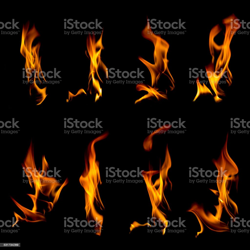 Collection of flames on black stock photo