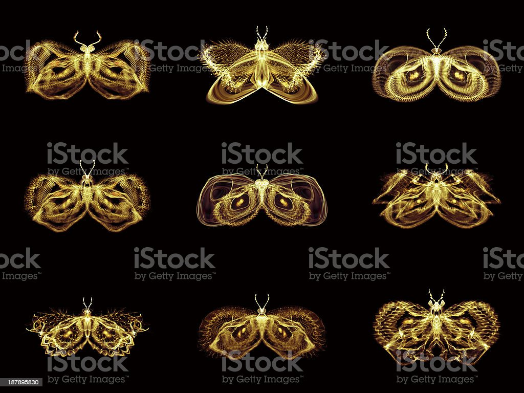 Collection of Fractal Butterflies royalty-free stock vector art