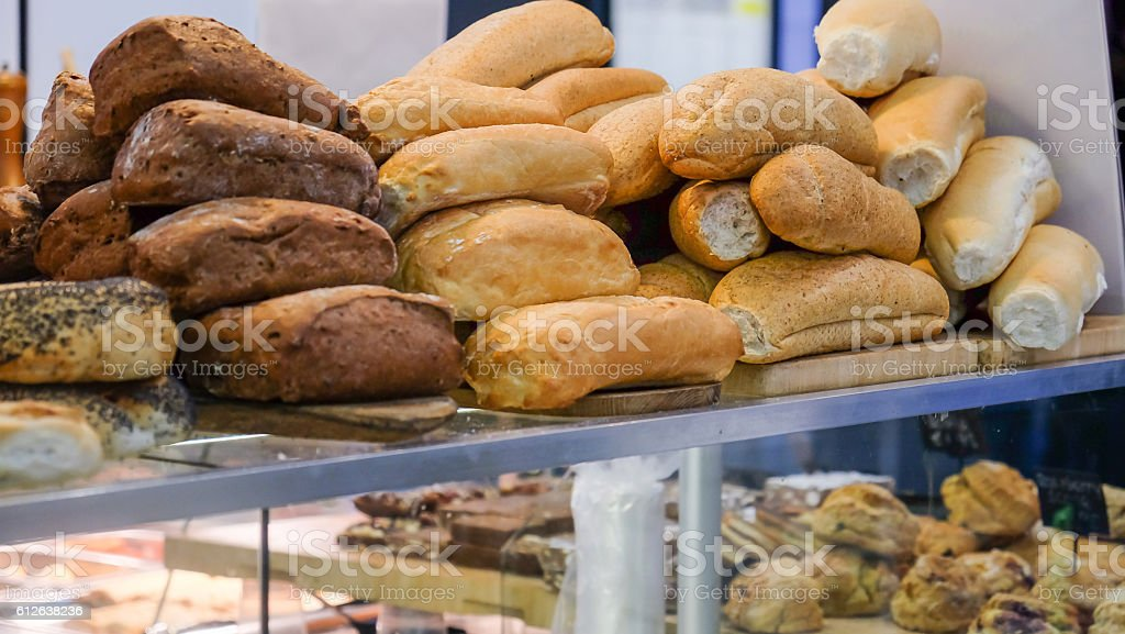 Collection of fresh bread loaf stock photo