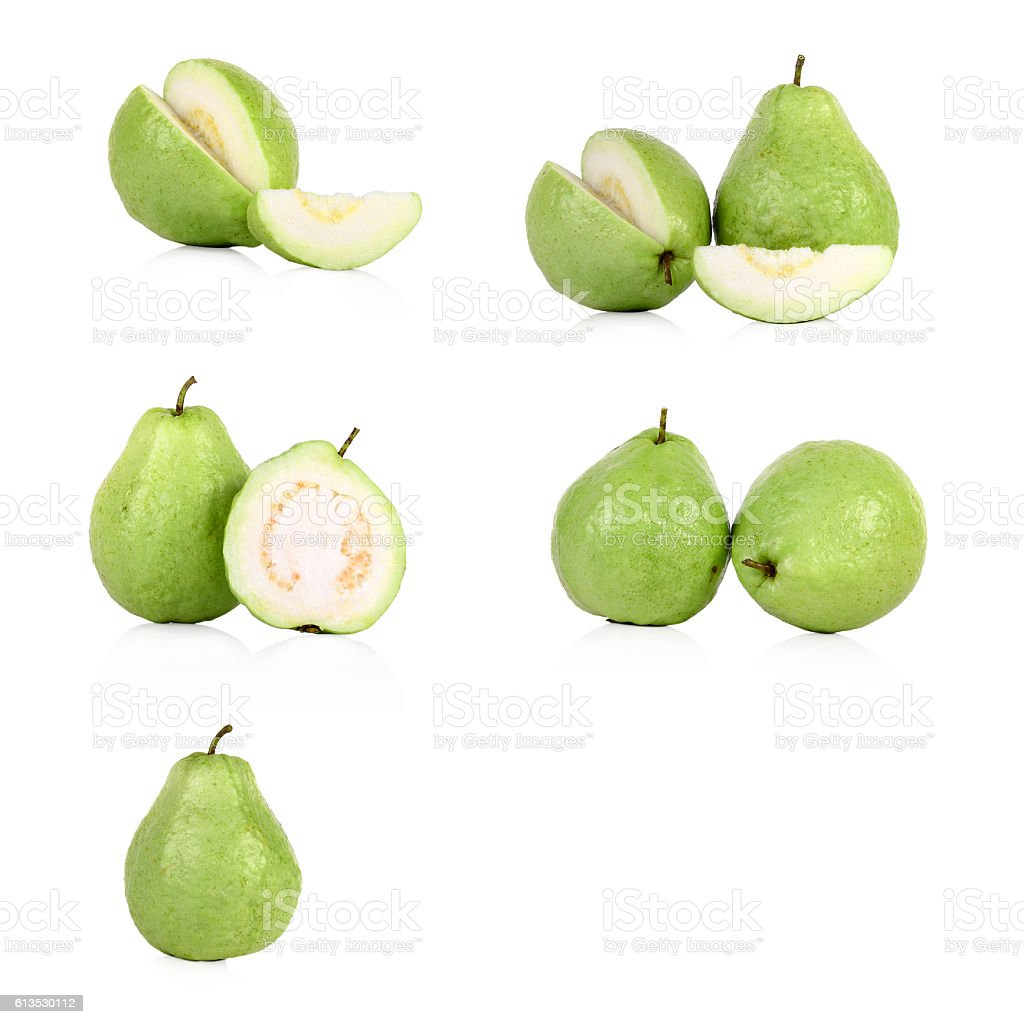 collection of fresh Guava fruit  isolated on white background stock photo