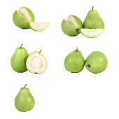 collection of fresh Guava fruit  isolated on white background